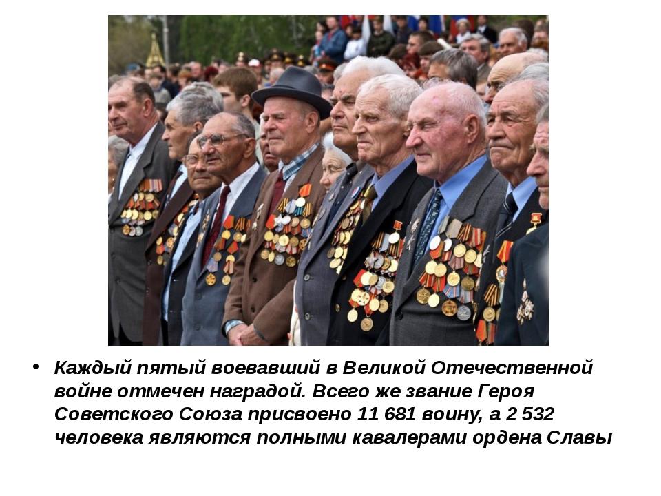 Каждый пятый воевавший в Великой Отечественной войне отмечен наградой. Всего...