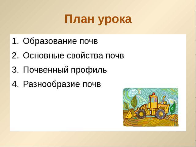 План урока Образование почв Основные свойства почв Почвенный профиль Разнообр...