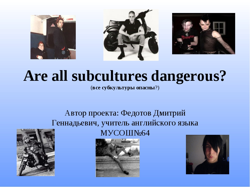 Are all subcultures dangerous? (все субкультуры опасны?) Автор проекта: Федот...
