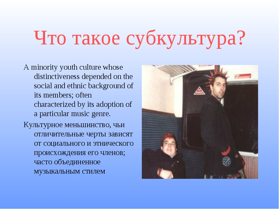 Что такое субкультура? A minority youth culture whose distinctiveness depende...
