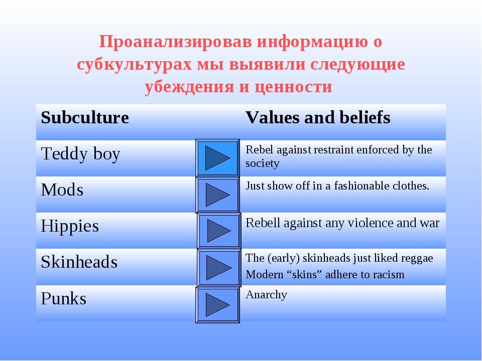 Проанализировав информацию о субкультурах мы выявили следующие убеждения и це...