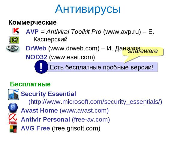 Антивирусы Коммерческие Бесплатные Security Essential (http://www.microsoft.c...