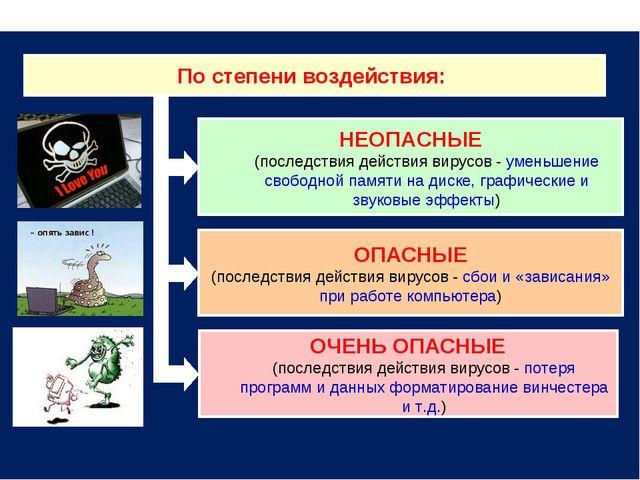 По степени воздействия: НЕОПАСНЫЕ (последствия действия вирусов - уменьшение...