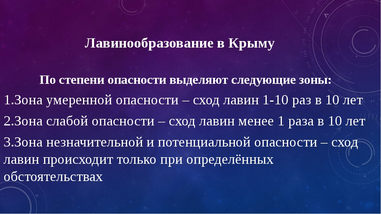 Лавинообразование в Крыму По степени опасности выделяют следующие зоны: 1.Зон...