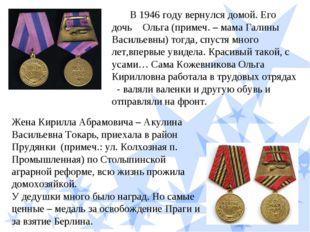 В 1946 году вернулся домой. Его дочь Ольга (примеч. – мама Галины Васильев