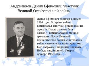 Андриенков Данил Ефимович, участник Великой Отечественной войны. Данил Ефимов