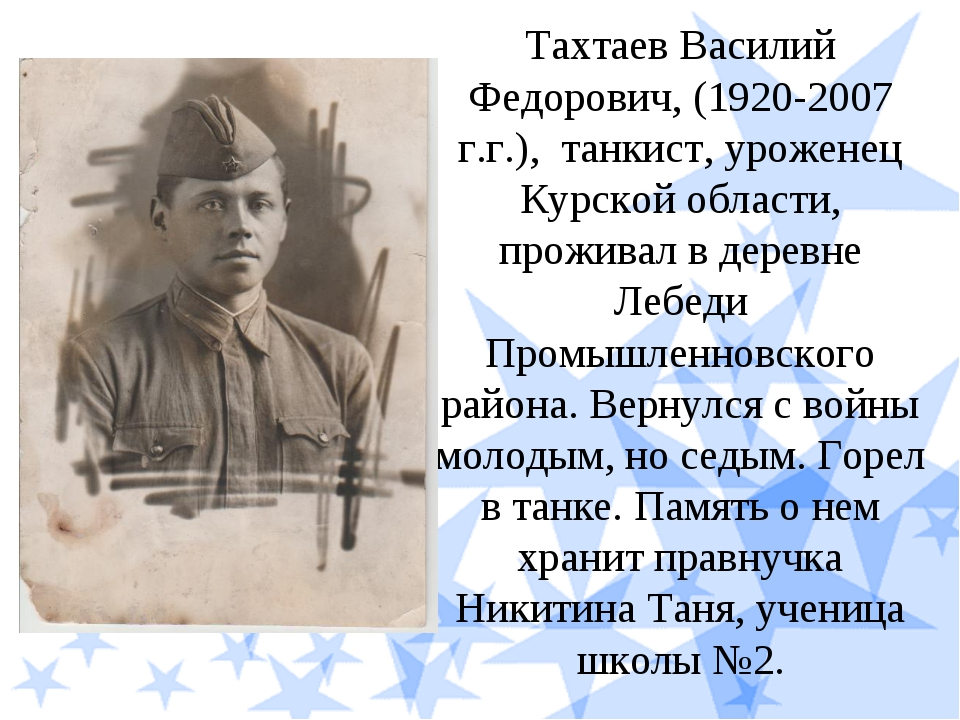 Тахтаев Василий Федорович, (1920-2007 г.г.), танкист, уроженец Курской област...