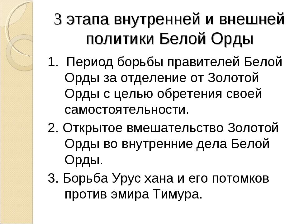 3 этапа внутренней и внешней политики Белой Орды 1. Период борьбы правителей...