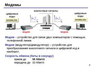 * Модемы аналоговые сигналы цифровые коды цифровые коды 101001101 Модем – уст