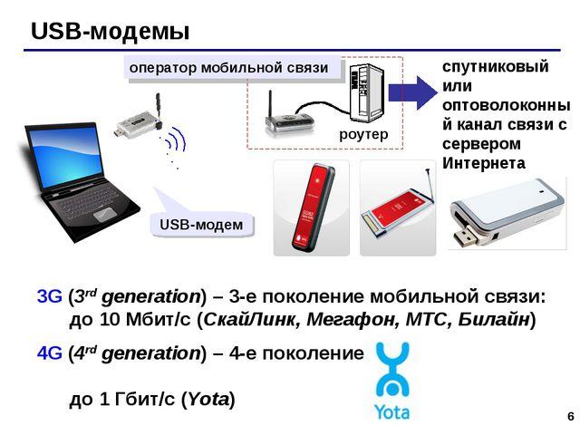 * USB-модемы спутниковый или оптоволоконный канал связи с сервером Интернета...