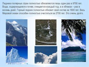 Ледники полярных стран полностью обновляются лишь один раз в 9700 лет. Вода,