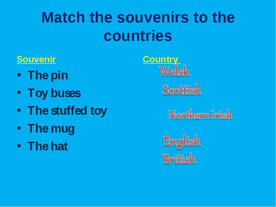 Match the souvenirs to the countries Souvenir The pin Toy buses The stuffed t...