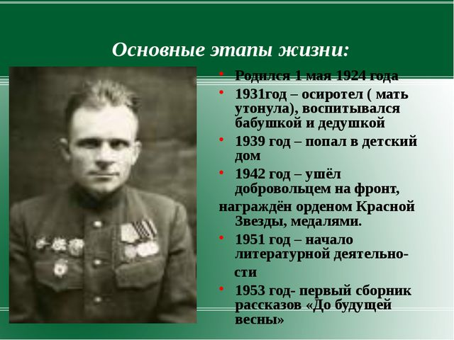 Основные этапы жизни: Родился 1 мая 1924 года 1931год – осиротел ( мать утону...
