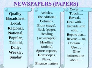 Quality, Broadsheet, Local, Regional, National, Popular, Tabloid, Daily, Week