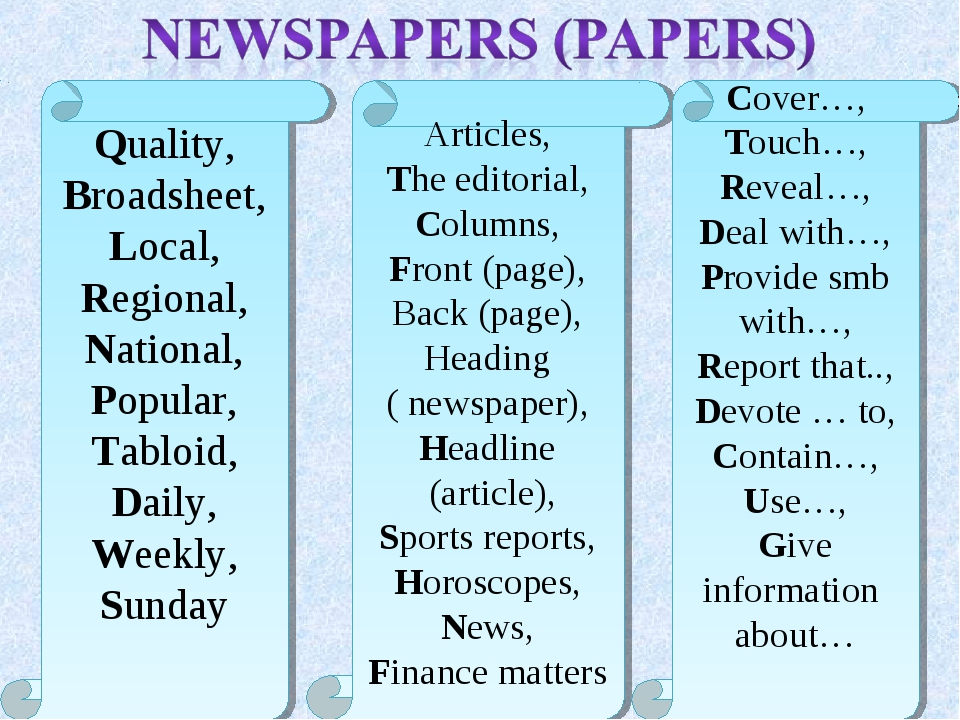 Quality, Broadsheet, Local, Regional, National, Popular, Tabloid, Daily, Week...