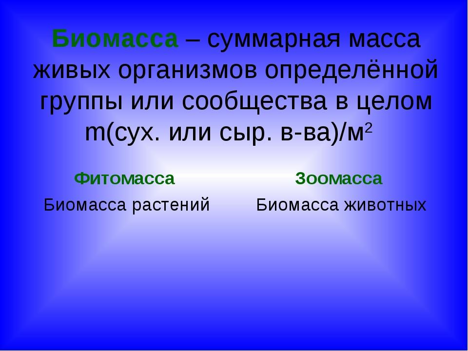 Биомасса – суммарная масса живых организмов определённой группы или сообществ...