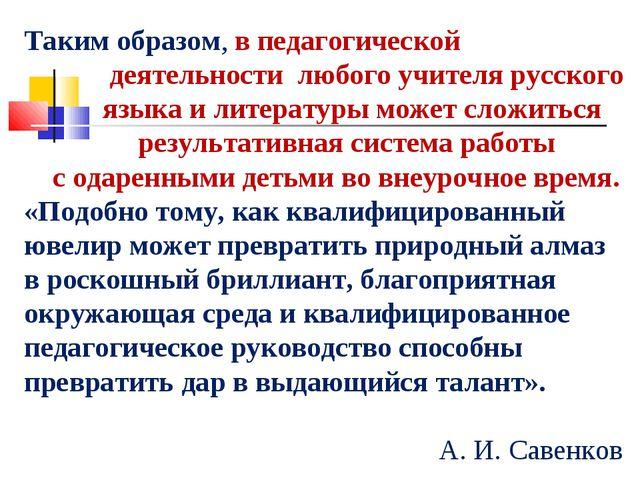 Таким образом, в педагогической деятельности любого учителя русского языка и...