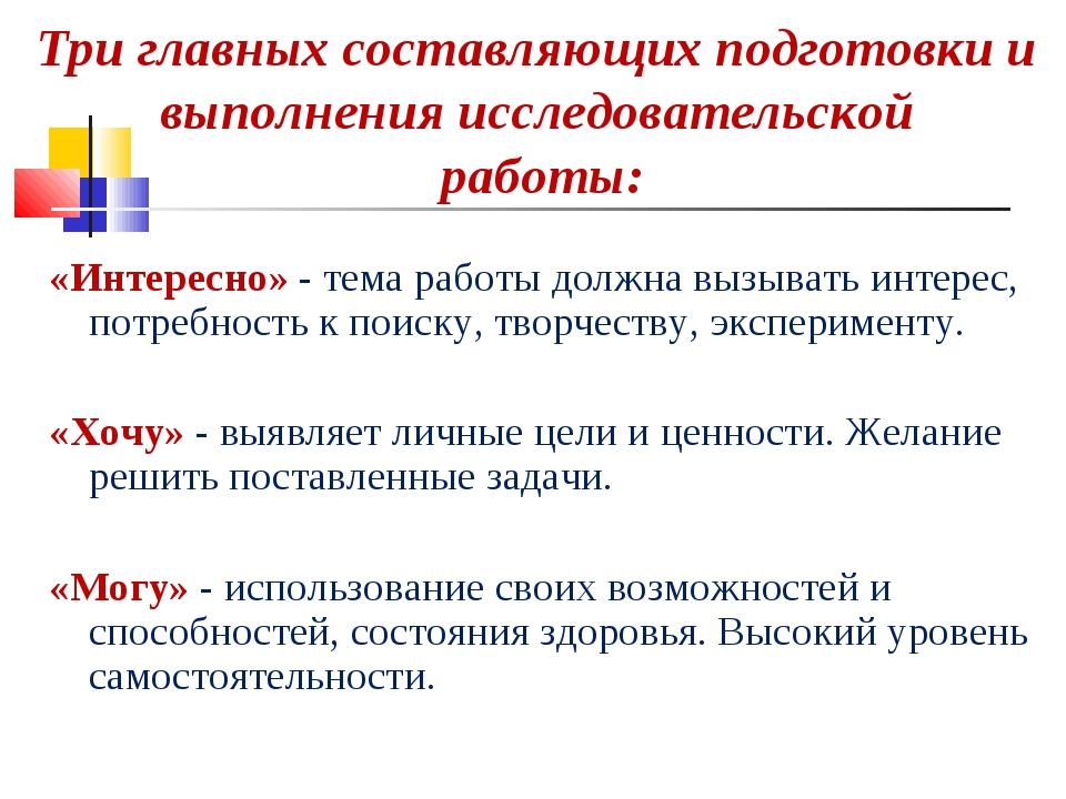 Три главных составляющих подготовки и выполнения исследовательской работы: «И...