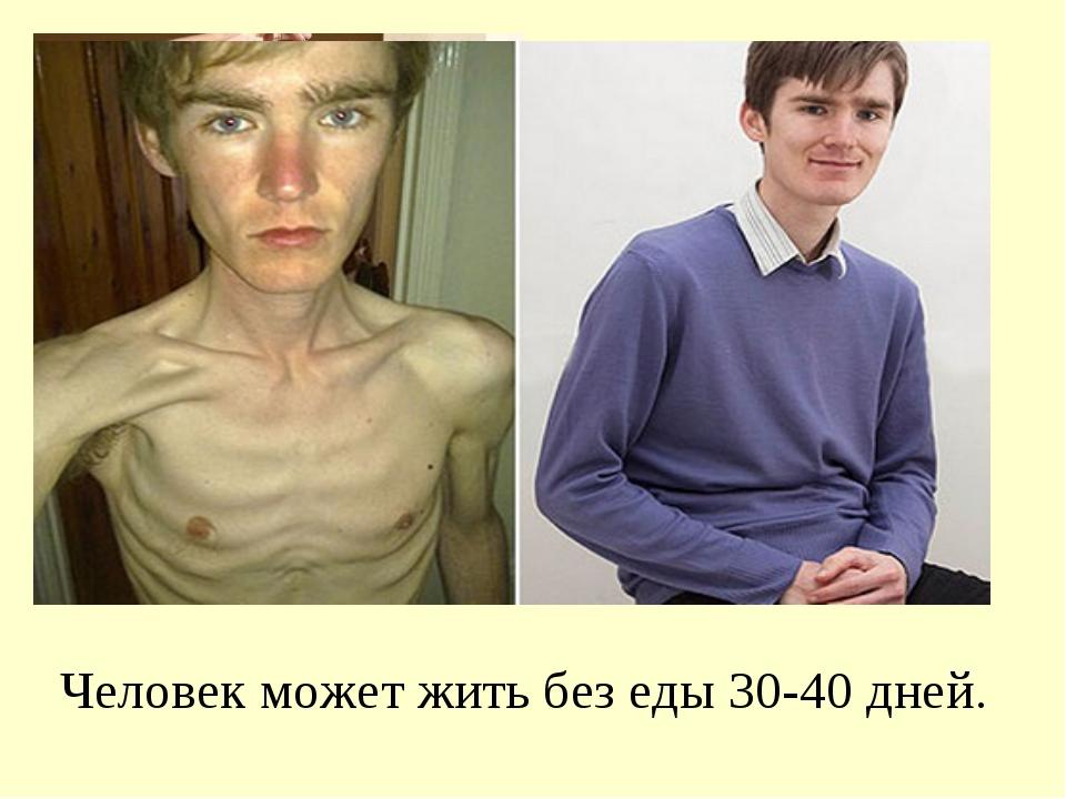 Человек может жить без еды 30-40 дней.
