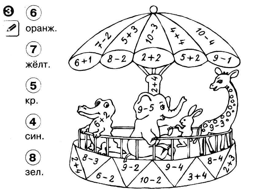 Примеры по математике 1 класс с раскраской