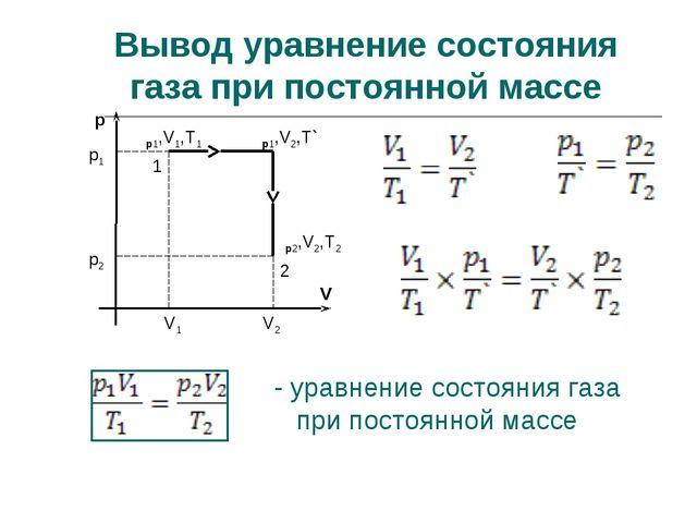 Вывод уравнение состояния газа при постоянной массе