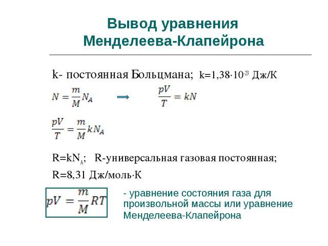 Вывод уравнения Менделеева-Клапейрона k- постоянная Больцмана; k=1,38∙10-23 Д...