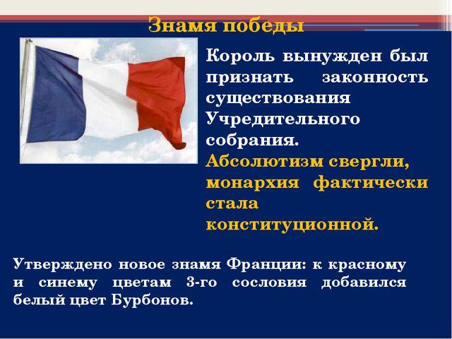 Утверждено новое знамя Франции: к красному и синему цветам 3-го сословия доба...