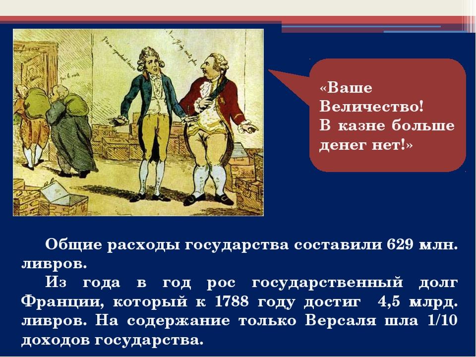 «Ваше Величество! В казне больше денег нет!» Общие расходы государства с...