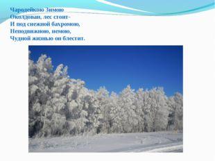 Чародейкою Зимою Околдован, лес стоит- И под снежной бахромою, Неподвижною, н