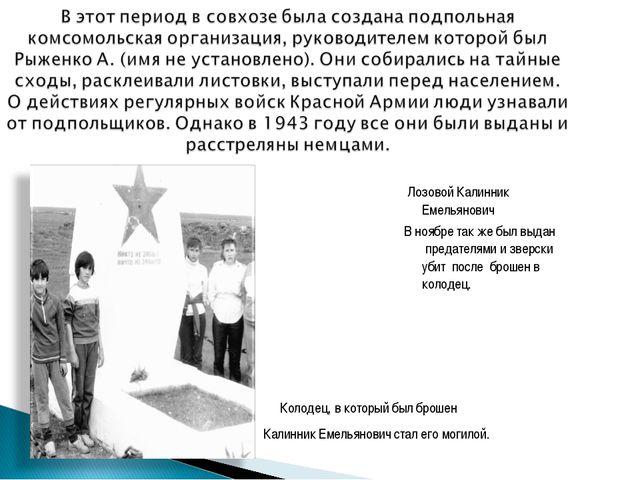Лозовой Калинник Емельянович В ноябре так же был выдан предателями и зверски...