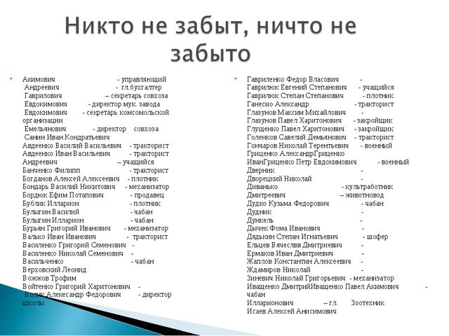 Акимович - управляющий Андреевич - гл.бухгалтер Гаврилович – секретарь совхоз...