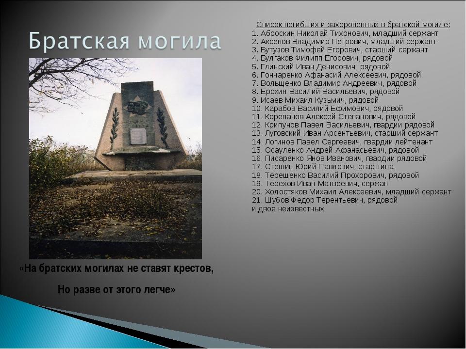 Список погибших и захороненных в братской могиле: 1. Аброскин Николай Тихонов...