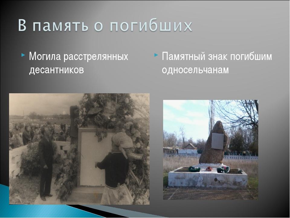 Могила расстрелянных десантников Памятный знак погибшим односельчанам