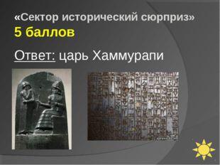 «Сектор исторический сюрприз» 5 баллов Ответ: царь Хаммурапи