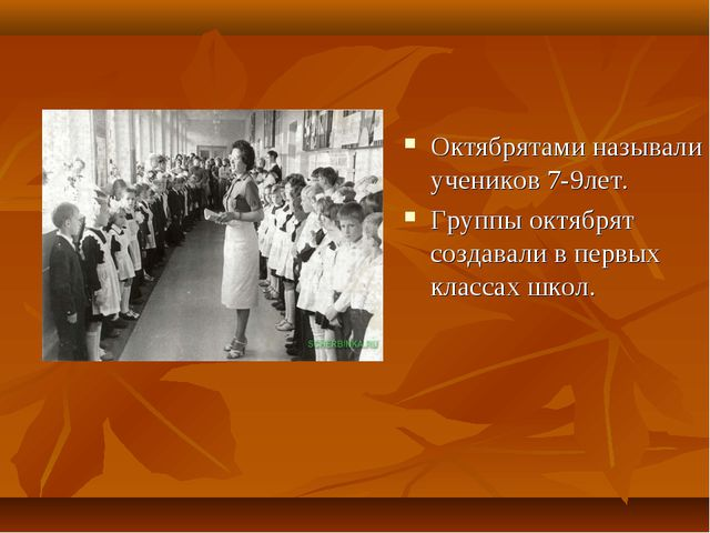 Октябрятами называли учеников 7-9лет. Группы октябрят создавали в первых клас...