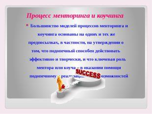 Процесс менторинга и коучинга Большинство моделей процессов менторинга и коуч