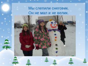 Мы слепили снеговик. Он не мал и не велик.