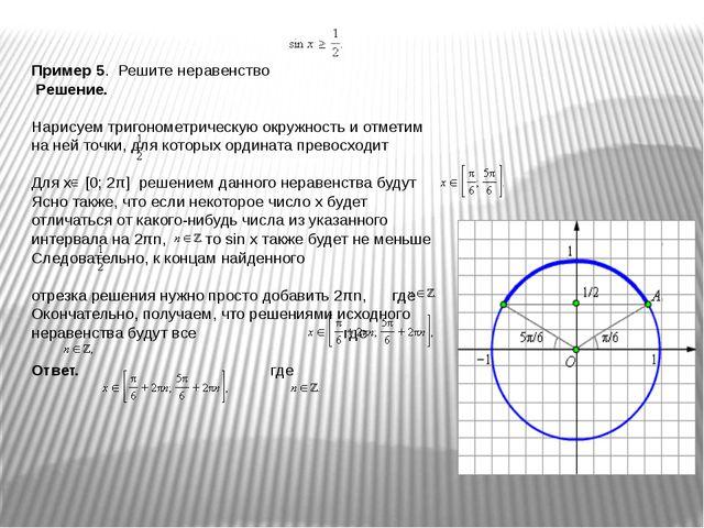 Пример 5. Решите неравенство Решение. Нарисуем тригонометрическую окружность...