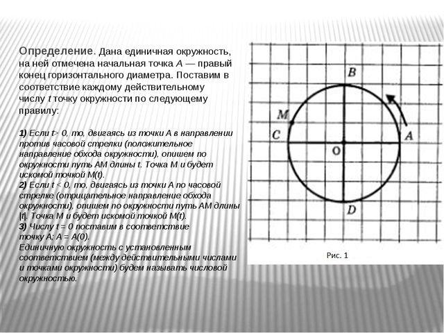 Определение.Дана единичная окружность, на ней отмечена начальная точкаA—п...