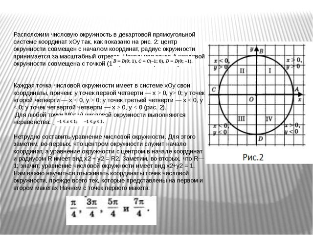 Расположим числовую окружность в декартовой прямоугольной системе координат х...