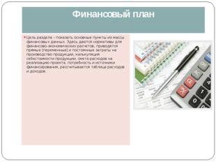 Финансовый план Цель раздела – показать основные пункты из массы финансовых д