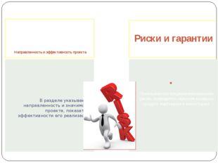 Направленность и эффективность проекта Риски и гарантии В разделе указывает