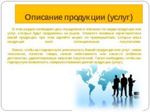Описание продукции (услуг) В этом разделе необходимо дать определение и опи