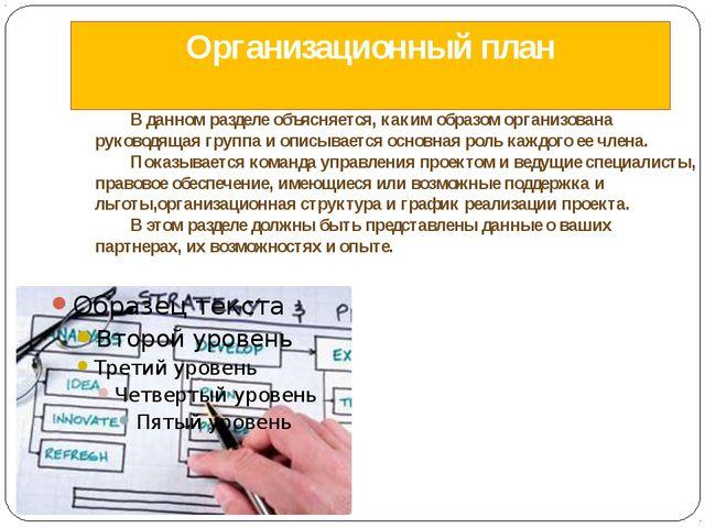Организационный план В данном разделе объясняется, каким образом организован...