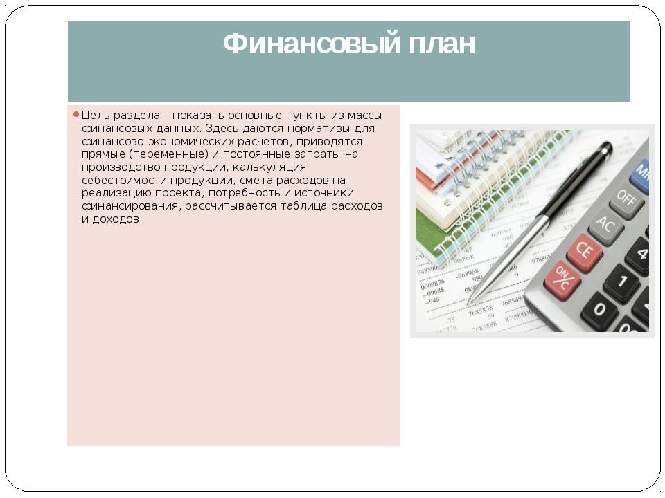 Финансовый план Цель раздела – показать основные пункты из массы финансовых д...