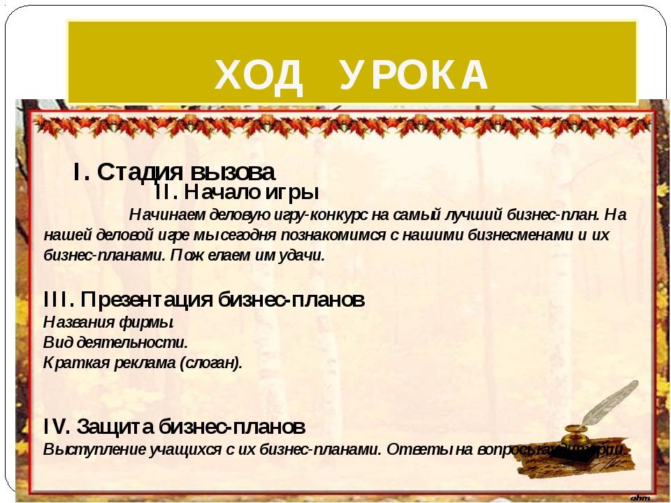 ХОД УРОКА II.Начало игры Начинаем деловую игру-конкурс на самый лучший бизне...