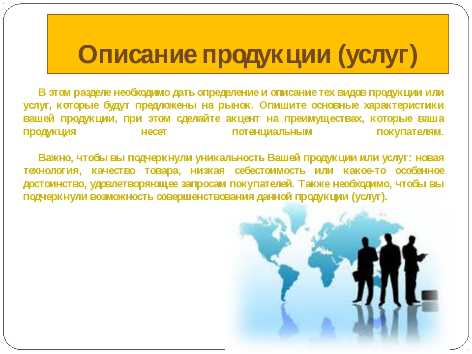 Описание продукции (услуг) В этом разделе необходимо дать определение и опи...