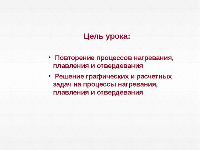 Цель урока: Повторение процессов нагревания, плавления и отвердевания Решени...