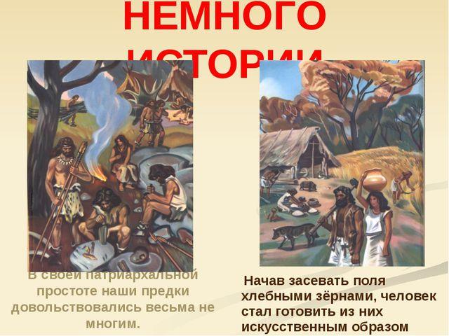 НЕМНОГО ИСТОРИИ В своей патриархальной простоте наши предки довольствовались...