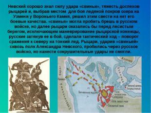 Невский хорошо знал силу удара «свиньи», тяжесть доспехов рыцарей и, выбрав м